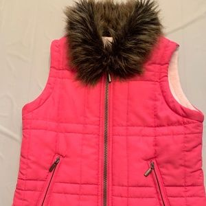 Pink Vest Fleece Lined with Faux Fur Collar Girls